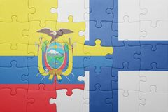 Puzzle with the national flag of ecuador and finland Stock Image