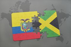 Puzzle with the national flag of ecuador and jamaica on a world map background. 3D illustration stock images