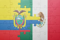 Puzzle with the national flag of ecuador and mexico. Concept stock photos