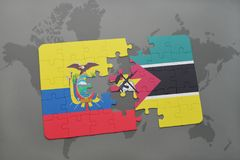 Puzzle with the national flag of ecuador and mozambique on a world map. Background. 3D illustration Royalty Free Stock Photography