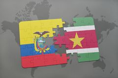 Puzzle with the national flag of ecuador and suriname on a world map background. 3D illustration Stock Photography