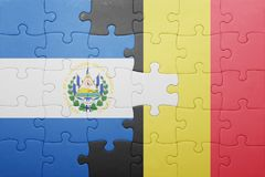 puzzle with the national flag of el salvador and belgium Stock Photos