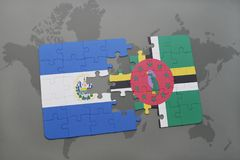 puzzle with the national flag of el salvador and dominica on a world map background. Stock Images