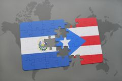puzzle with the national flag of el salvador and puerto rico on a world map background. Stock Photo
