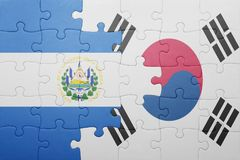 Puzzle with the national flag of el salvador and south korea. Concept stock images