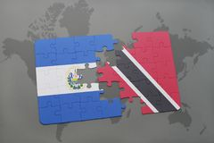 puzzle with the national flag of el salvador and trinidad and tobago on a world map background. Royalty Free Stock Image