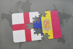 Puzzle with the national flag of england and andorra on a world map background. Stock Photo