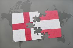 Puzzle with the national flag of england and austria on a world map background. 3D illustration Stock Photo