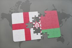 Puzzle with the national flag of england and belarus on a world map background. Stock Images