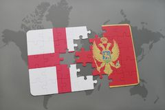 Puzzle with the national flag of england and montenegro on a world map background. Stock Image