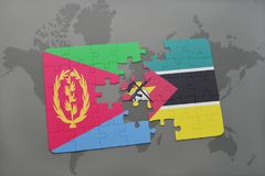 Puzzle with the national flag of eritrea and mozambique on a world map. Background. 3D illustration Stock Photos