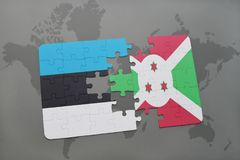 puzzle with the national flag of estonia and burundi on a world map Royalty Free Stock Photo