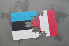 Puzzle with the national flag of estonia and peru on a world map. Background. 3D illustration stock images