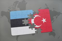 Puzzle with the national flag of estonia and turkey on a world map background. 3D illustration stock photos