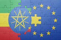 Puzzle with the national flag of ethiopia and european union Royalty Free Stock Image