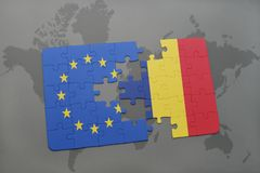 Puzzle with the national flag of european union and chad on a world map background. 3D illustration royalty free stock images