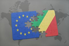 Puzzle with the national flag of european union and republic of the congo on a world map background. 3D illustration stock photo