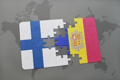 Puzzle with the national flag of finland and andorra on a world map background. 3D illustration Stock Images