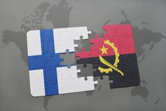 Puzzle with the national flag of finland and angola on a world map background. 3D illustration Stock Image