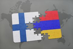 Puzzle with the national flag of finland and armenia on a world map background. 3D illustration Stock Photography