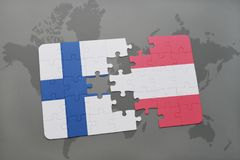 Puzzle with the national flag of finland and austria on a world map background. 3D illustration Royalty Free Stock Images