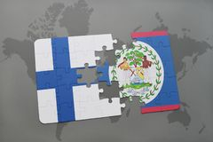 Puzzle with the national flag of finland and belize on a world map background. Stock Images