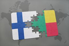 Puzzle with the national flag of finland and benin on a world map background. 3D illustration Stock Photography