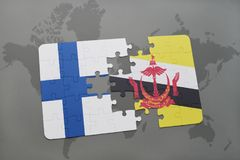 Puzzle with the national flag of finland and brunei on a world map background. 3D illustration Royalty Free Stock Images