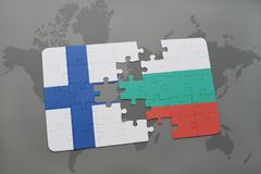 Puzzle with the national flag of finland and bulgaria on a world map background. 3D illustration Royalty Free Stock Photography