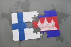Puzzle with the national flag of finland and cambodia on a world map background. 3D illustration Stock Photography