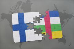 Puzzle with the national flag of finland and central african republic on a world map background. 3D illustration Royalty Free Stock Photography