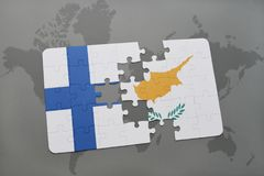 Puzzle with the national flag of finland and cyprus on a world map background. 3D illustration Royalty Free Stock Photography
