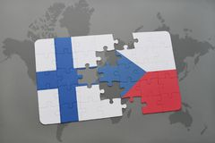 Puzzle with the national flag of finland and czech republic on a world map background. 3D illustration Stock Photography