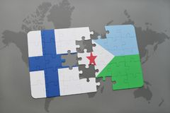 Puzzle with the national flag of finland and djibouti on a world map background. 3D illustration Stock Images
