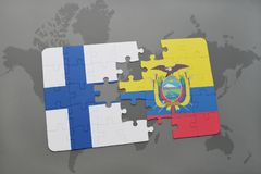 Puzzle with the national flag of finland and ecuador on a world map background. Royalty Free Stock Photography