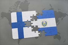 Puzzle with the national flag of finland and el salvador on a world map background. Stock Images