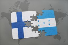 Puzzle with the national flag of finland and honduras on a world map background. Stock Photos