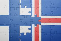 Puzzle with the national flag of finland and iceland. Concept Royalty Free Stock Photography