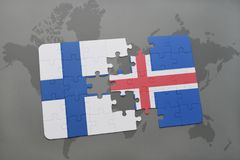 Puzzle with the national flag of finland and iceland on a world map background. 3D illustration Royalty Free Stock Image