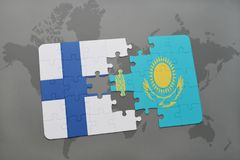 Puzzle with the national flag of finland and kazakhstan on a world map background. 3D illustration Royalty Free Stock Photos