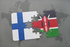 Puzzle with the national flag of finland and kenya on a world map background. 3D illustration Royalty Free Stock Photo