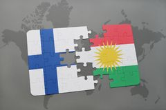 Puzzle with the national flag of finland and kurdistan on a world map background. 3D illustration Stock Photos