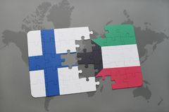 Puzzle with the national flag of finland and kuwait on a world map background. 3D illustration Stock Photography