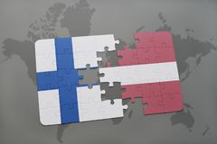 Puzzle with the national flag of finland and latvia on a world map background. 3D illustration Royalty Free Stock Images