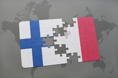 Puzzle with the national flag of finland and malta on a world map background. 3D illustration Royalty Free Stock Images