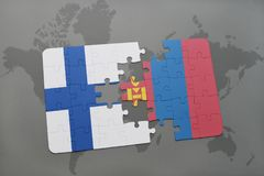 Puzzle with the national flag of finland and mongolia on a world map background. 3D illustration Stock Photo