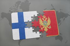 Puzzle with the national flag of finland and montenegro on a world map background. Royalty Free Stock Photography