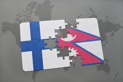 Puzzle with the national flag of finland and nepal on a world map background. 3D illustration Royalty Free Stock Image