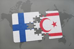 Puzzle with the national flag of finland and northern cyprus on a world map background. 3D illustration Royalty Free Stock Photo