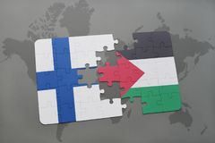 Puzzle with the national flag of finland and palestine on a world map background. 3D illustration Stock Images